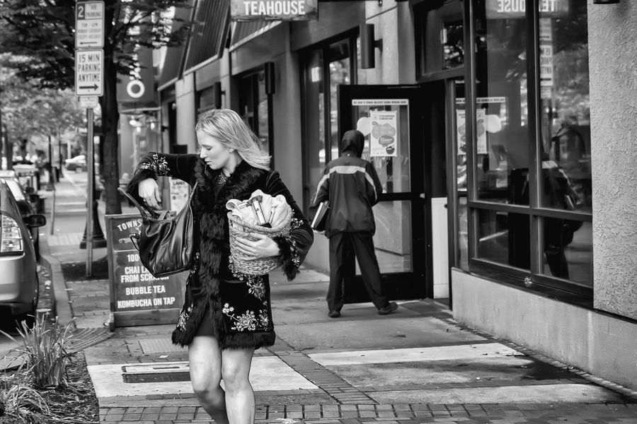 Blackandwhite Streetphotography Woman Purse Selective Focus Leading Lines Candid