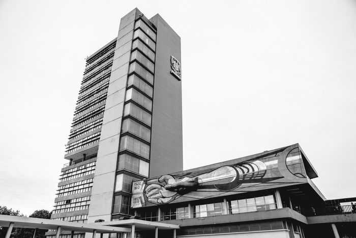 Architecture Architecture_bw Architecture_collection Black And White Black And White Collection  Building Building Exterior Built Structure City Clear Sky Day Funcionalism Low Angle View Mexico Modern Modernism No People Office Building Outdoors Sky Skyscraper Tall Tall - High Tower UNAM