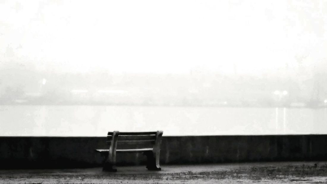 Bench with a View Outdoors No People Fog Day Nature Sky EyeEmNewHere Travel Destinations Black And White Friday Black And White Photography Palisades State Park Urban Skyline Illuminated Tranquil Scene Outdoors