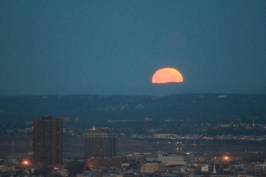 City Life Cityscape Moonset New Jersey NYC Orange Color Tranquility