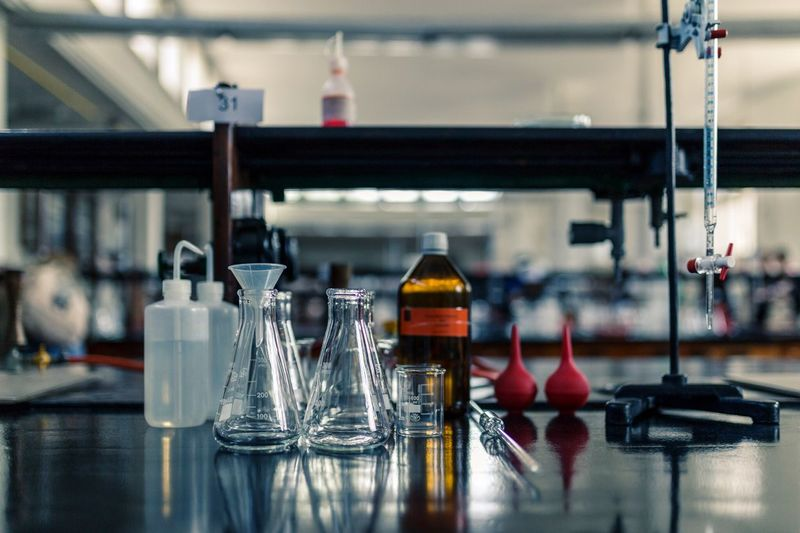 Bottle Indoors  Focus On Foreground No People Close-up Laboratory Day Scientific Experiment Chemical Chemistry Lab