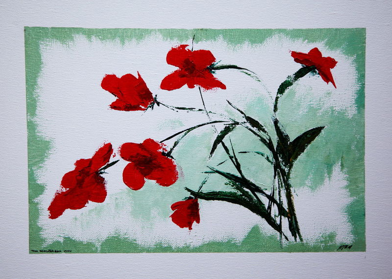 Untitled original acrylic on canvas painted in 2006 by Thomas E. McCutcheon (1949 - 2010). Acrylic Acrylic Painting Art Artist ArtWork Collection Decoration Flower Gallery Leaf Nature No People Paint Painting Red Thomas E. McCutcheon Vibrant Color