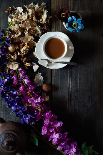 A beautiful way to start the morning with a cup of tea. Black Background Cup Day Drink Drinks Flower Flowers Food Food And Drink Foodphotography Freshness Indoors  Lavender No People Tea - Hot Drink Tea Cup Visual Feast