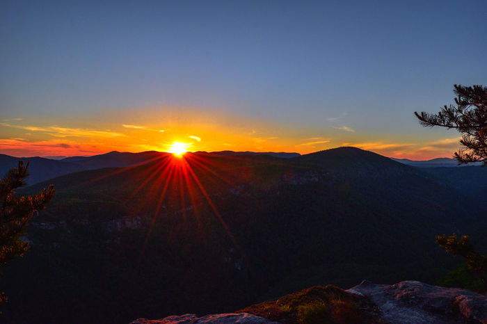 Backpacking Beauty In Nature Blane Arnold Photography Clear Sky Copy Space Idyllic Landscape Last Light Mountain Mountain Range Nature Non-urban Scene North Carolina Orange Color Physical Geography Scenics Silhouette Sky Sun Sunbeam Sunlight Sunset Table Rock Tranquil Scene Tranquility
