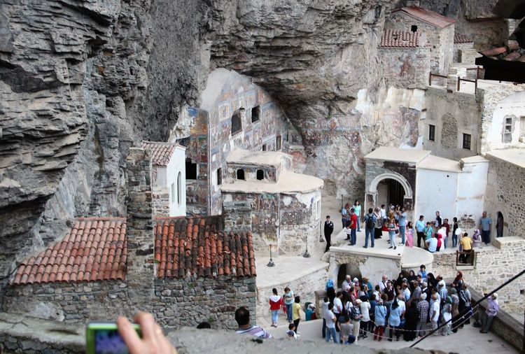 High angle view of people at sumela monastery