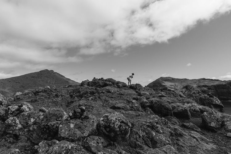Found you! Adventure Beauty In Nature Black & White Black And White Blackandwhite Cloud - Sky Day Landscape Men Mountain Nature One Man Only One Person Outdoors People Photographer Photography Rock Rock - Object Scenics Sky Taking Photos Taking Pictures Tranquil Scene Tranquility
