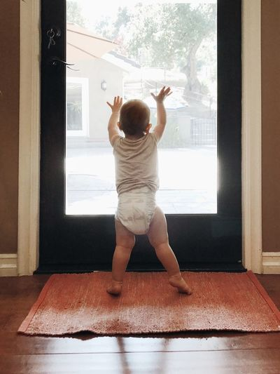 Enjoying Life Daylight Child Development Child Natural Light Door Full Length Rear View Arms Raised One Person Indoors  Human Arm Child Standing Childhood Lifestyles Home Interior Carpet - Decor Window