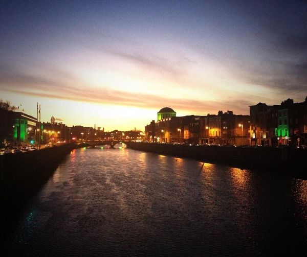 Liffey Dublin Sunset Me Around The World Traveling River St.Patrick's Day Light Holiday Sky