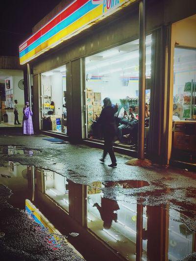 HUAWEI Photo Award: After Dark Water Multi Colored Puddle Full Length Wet Women Reflection Modern Walking Rain Rainy Season Rainfall
