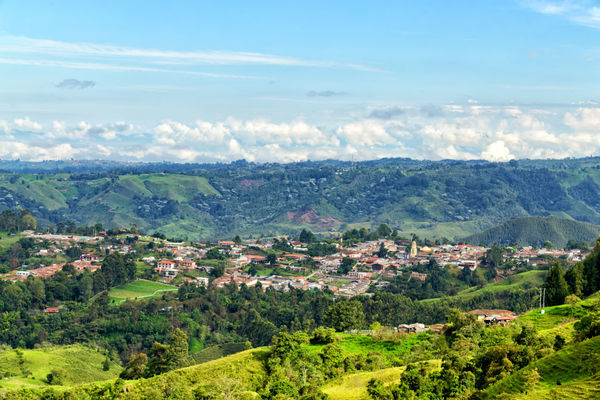 Morning View of Salento, Colombia. Cloud Colombia Farm Hiking Palm Pasture Quindío Rural Tree Trip Andean Cauca Colombian  Countryside Forest Hike Jeep Landscape Mountain Nature Quindío Salento Tolima Trek Wax
