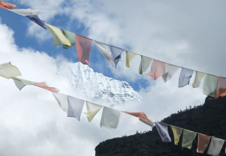 Nepal Blessing Budhism Celebration Cloud - Sky Cultures Day Flag Holy Mountain Multi Colored No People Prayer Prayer Flags  Religion Sky Spirituality Wind