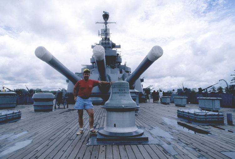 USS North Carolina BB-55 14 Inch Guns Bell Battleship Bow Shot Cloud - Sky Day Gün Batımı Navy One Person Outdoors People Real People Sky Teak Deck