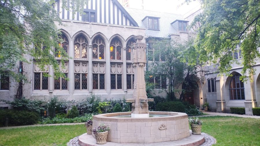 Reverent Illinois Chicago Miracle Mile Church Architecture Fountain Relax Calm City Water Tree Statue Sculpture Flower History Fountain Drinking Fountain Architecture Formal Garden Courtyard  Garden Path Arch Architectural Column