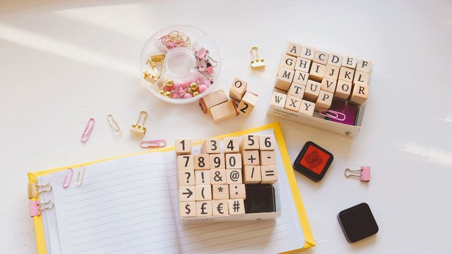 High angle view of toys on table