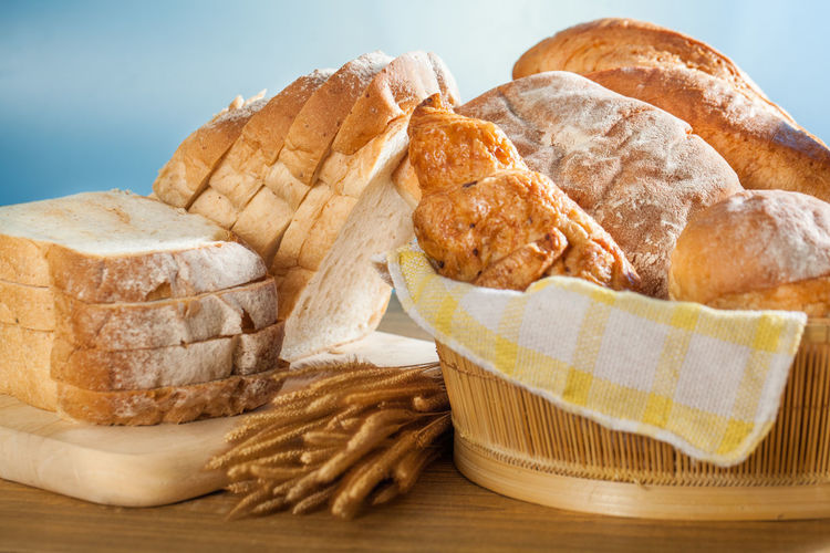 Close-up of bread in basket on table