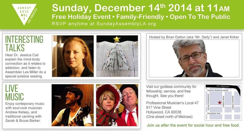 Come join us this Sunday if you're in town and you're not gonna be busy shopping. Sunday Assembly Los Angeles Atheism Skepticism