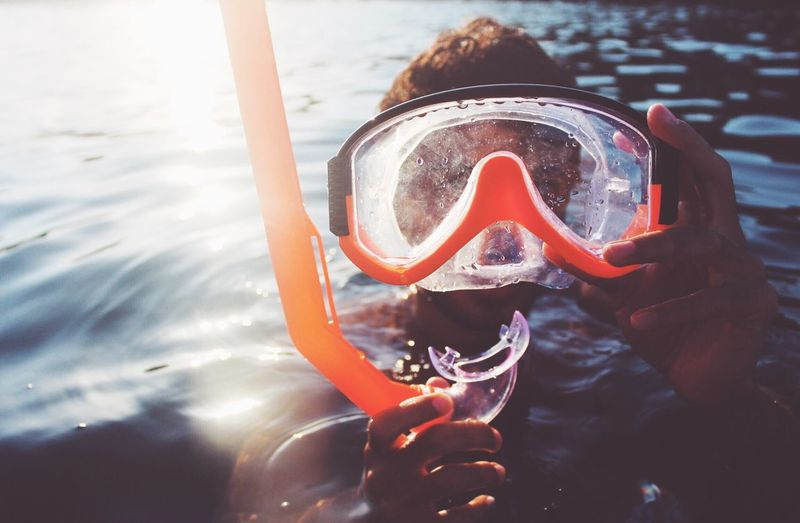 Too much filter, I'll share it again 😀 Leisure Activity Water One Person Real People Lifestyles Scuba Mask Swimming Outdoors Day Portrait Sea Adventure Scuba Diving Young Adult Close-up Nature Holiday Vacations Snorkeling The Traveler - 2018 EyeEm Awards Capture Tomorrow