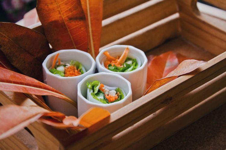 High angle view of food on basket