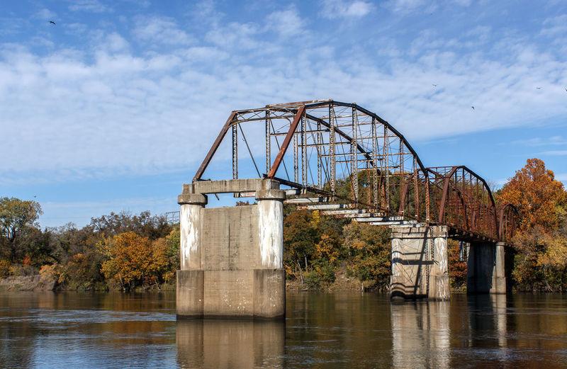 Broken Bridge Over River Against Sky
