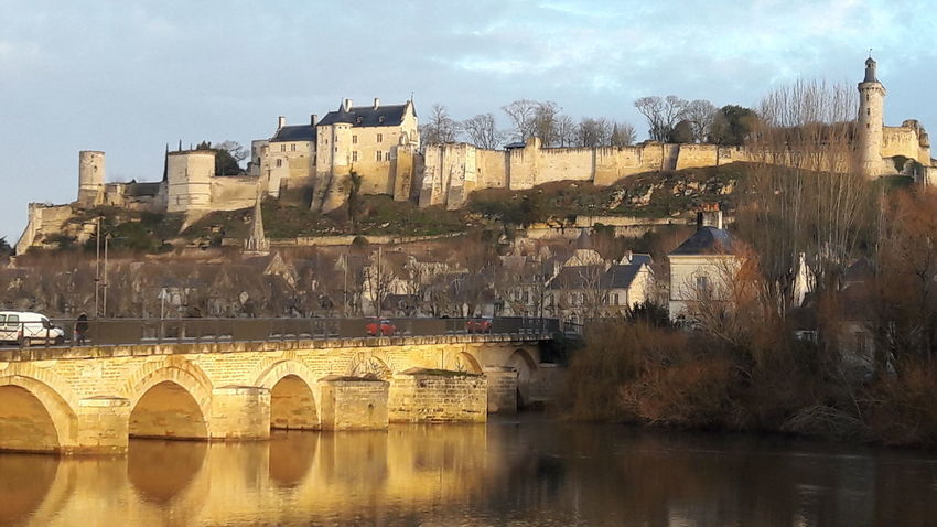 Castle Château Castle On River Chinon Richard The Lionheart Plantagenet Joan Of Arc Bridge - Man Made Structure Architecture Outdoors Water Day City Built Structure