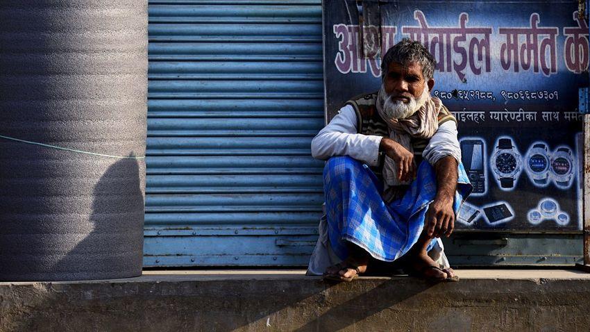 City HUMANITY Mango Pudding Enjoying The Scenery Nepal Public Telephone Old Man