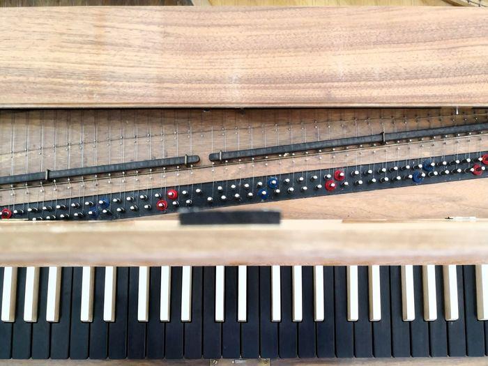 High angle view of harpsichord keyboard