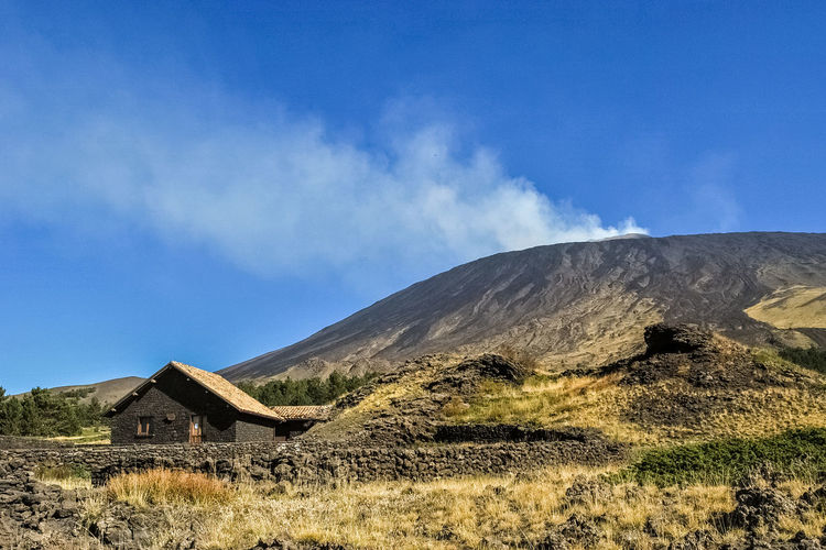 "The mountain hut ""Galvarina"" in the southern flank of volcano Etna Blue Catania Etna Galvarina Geology House Hut Italy Landscape Lava Mountain Nature Nature Outdoor Outdoors Scenics Shelter Sicily Sky Sunny Trees UNESCO World Heritage Site Volcano"