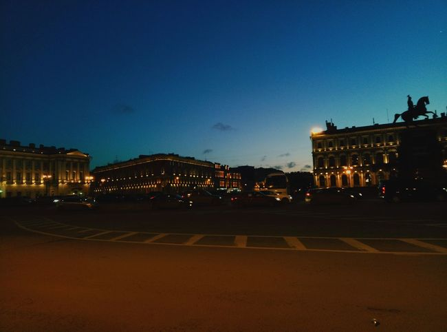 City Illuminated Architecture Twilight Travel Destinations Building Exterior Street Light Town Square Sky Car Outdoors Built Structure History Cityscape Night Winter Saint-Petersburg Russia Light And Shadow Prospect Old Buildings Statue Horse Statue EyeEmNewHere