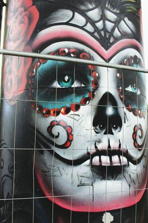 Graffiti Graffiti Art Calavera  Sugarskull Streetart Tetedemort Art Skull Outdoors City Graffiti Photography Graffitiwall Art, Drawing, Creativity Streetphotography Street Colorful