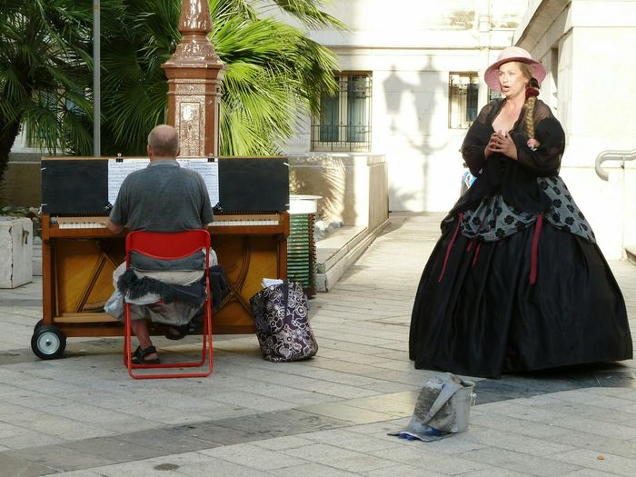 France Two People Piano Player Lyrical Singer Adults Only Piano Traditional Clothing Outdoors Day Piano Moments Women Around The World Nice / Nizza The Street Photographer - 2017 EyeEm Awards