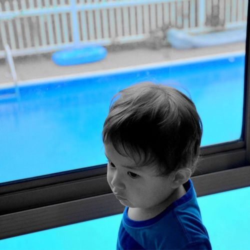 Blue Childhood Color Filter Cute Little Boy Person Portrait Real People Swimming Pool Window