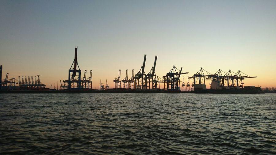 Hamburg Harbour Sundown Elbe River Industry Water
