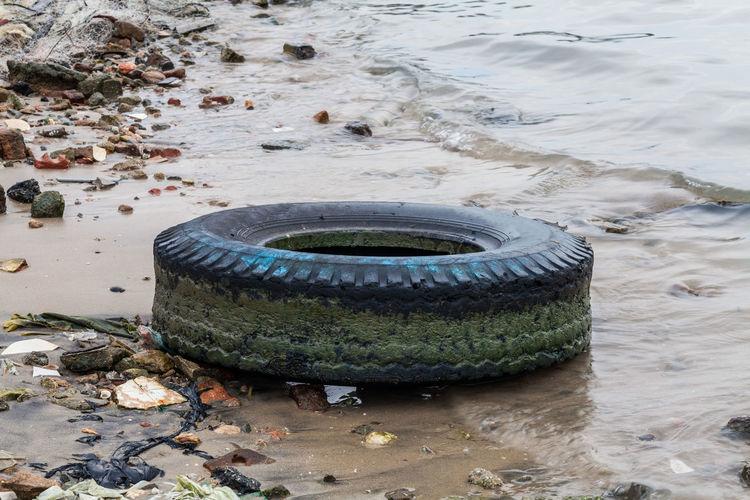 Garbage floating on water