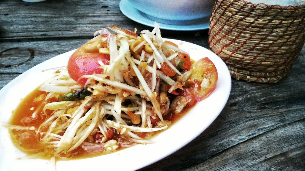 Papaya Salad Papayasalad Som Tam Som Tam Thai Sticky Rice Sticky Rice Box Thai Food Thai Restaurant Thai Food Good Taste Spicy Food Foodphotography Food Photography First Eyeem Photo Bangkok Thailand Bangkok Thailand