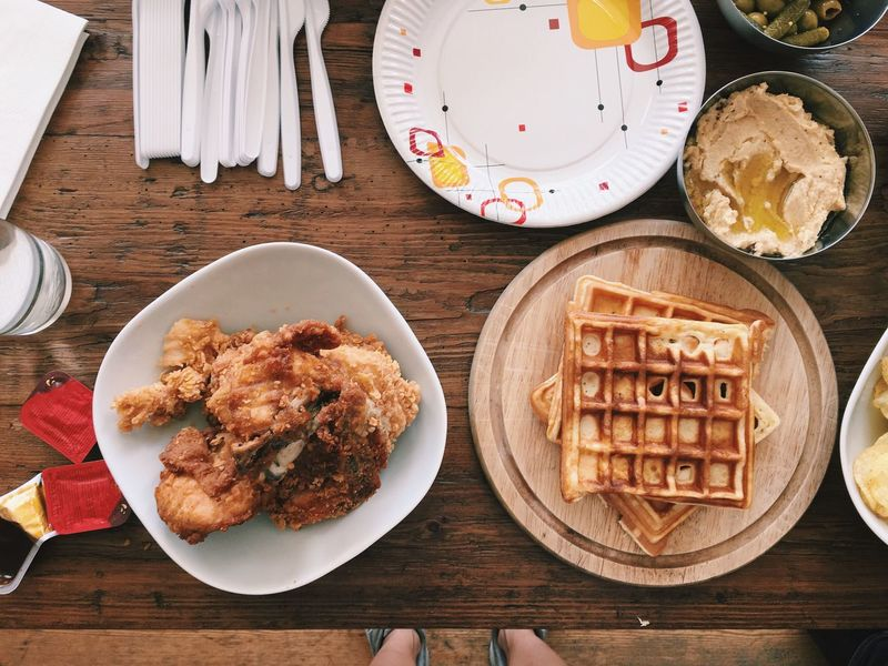 Chicken And Waffles American Food 4th Of July High Angle View