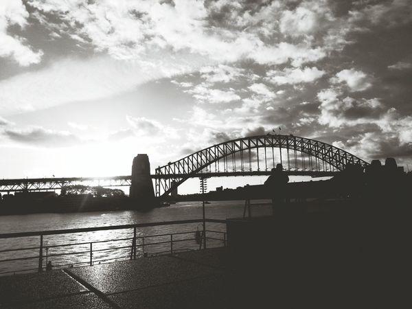 Monochrome Photography Structure Landscapes at sydney tower Bridge.
