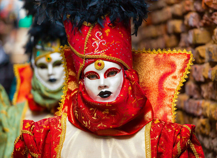 Portrait of woman wearing mask and costume outdoors