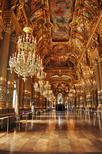 Aug 2012 France Palais Garnier Paris Travel Arch Architecture Aroundtheworld Baroque Style Built Structure Day History Illuminated Indoors  No People Ornate Travel Destinations