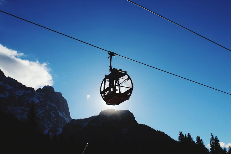 Mountain view. Hanging Silhouette Extreme Sports RISK Adventure Sport Sky Overhead Cable Car Cable