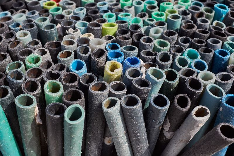 Full Frame Shot Of Plastic Pipes In Factory