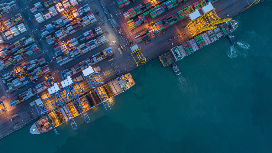 Aerial view of cargo containers at harbor