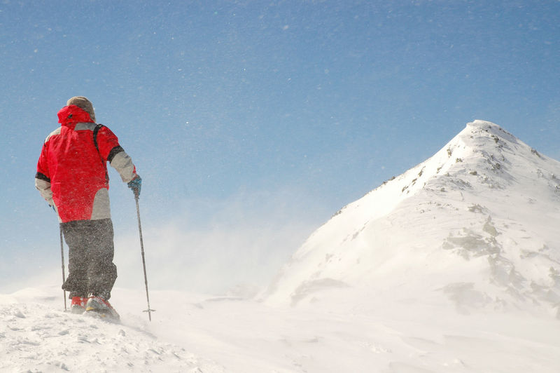 Rear View Of Person Standing On Snowcapped Mountain Against Clear Sky