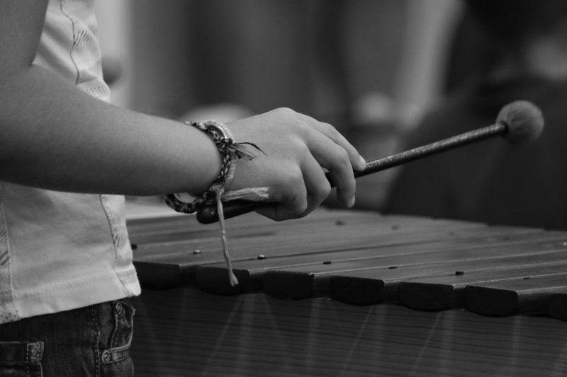Midsection of person playing vibraphone