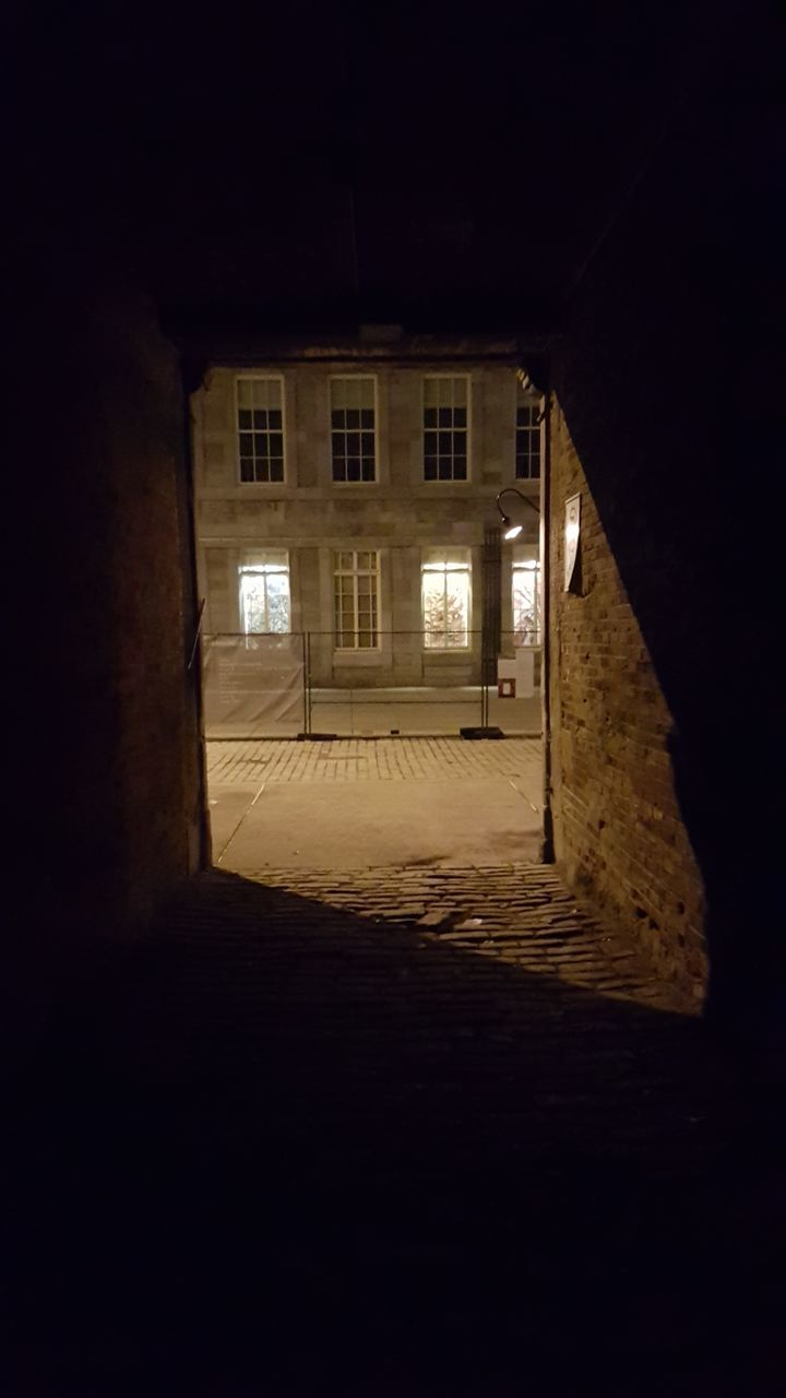 architecture, built structure, night, window, building exterior, illuminated, no people, the way forward, outdoors