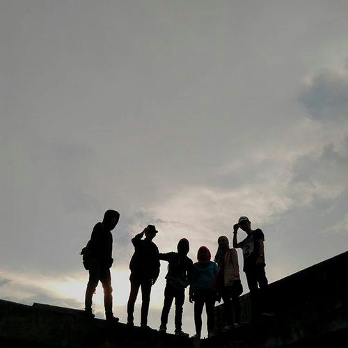 """together"" Mobilephotography Xiaomiphotography Sky Sunset Jambi Silhouette Large Group Of People Army Soldier Togetherness People Men Adult"