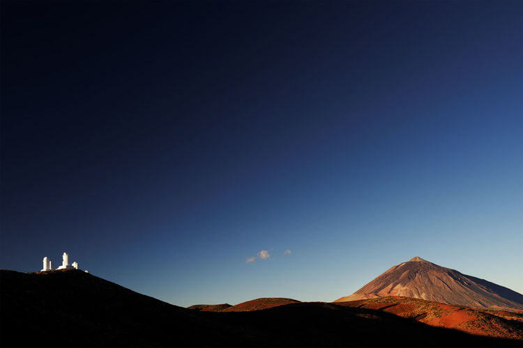 View Of El Teide National Park Against Clear Blue Sky