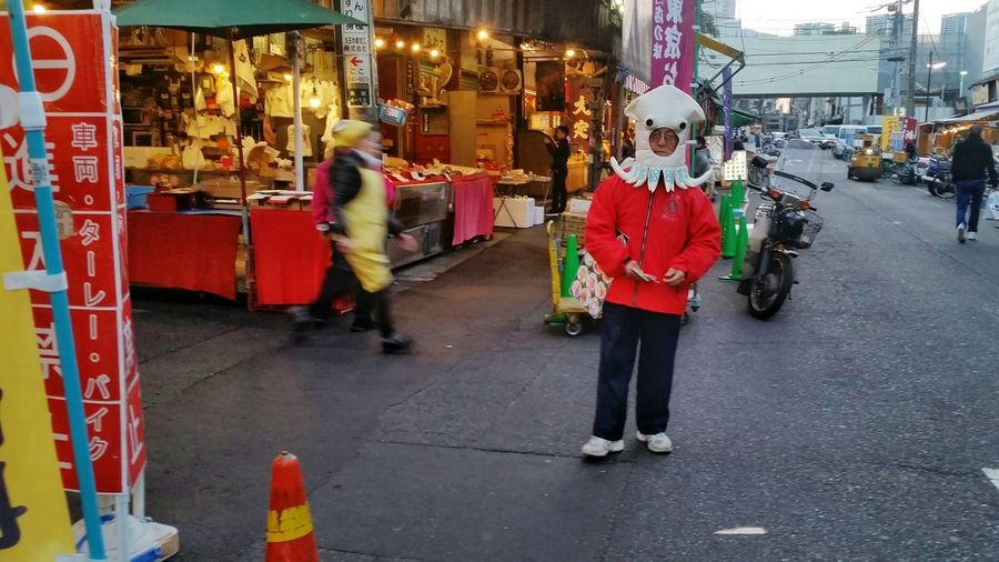 A day in the seafood market Street Photography Streetphoto Street Everybody Street Streetphoto_color Street Vendors Seafood Market Squid Octopus Man Tokyo,Japan Red Street Fashion Funny Mascot Having fun The Tourist Showcase: February Q Quirky Costume