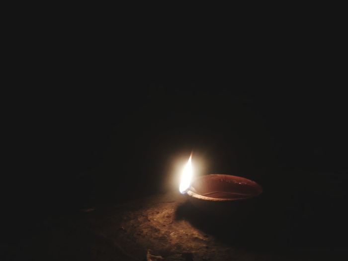 Black Background Illuminated Backgrounds Close-up Darkroom Wax Diya - Oil Lamp Diwali Burning Hinduism Traditional Festival