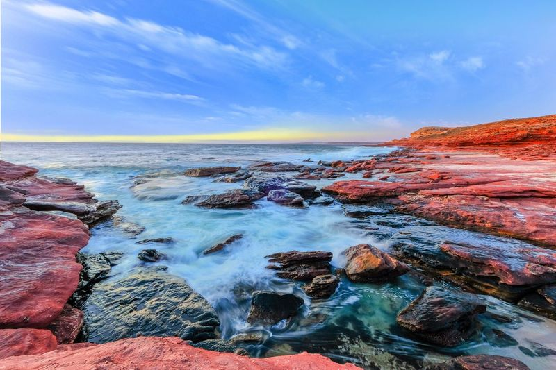 Mushroom Rock Kalbarri Western Australia Sea Water Sky Beauty In Nature Tranquil Scene Horizon Over Water Rock - Object Tranquility Wave Beach No People Outdoors Scenics Blue Landscape Travel Destinations Happiness Sand Nature Sunset