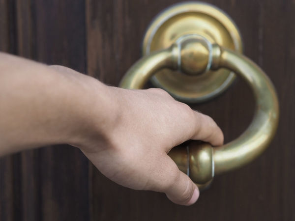 request admission Close-up Door Door Knocker Hand Knocking Personal Perspective Request Admission Waiting
